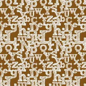 Small Sketched Alphabet on Brown
