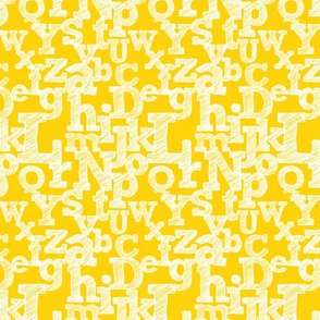 Small Sketched Alphabet on Yellow