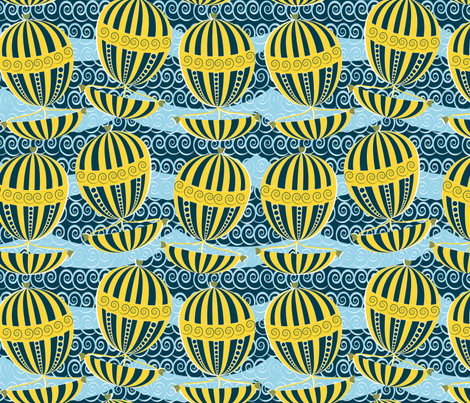 sailing yellow boats fabric by kociara on Spoonflower - custom fabric