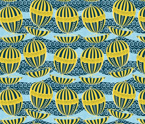 sailing yellow boats fabric by kociara on Spoonflower - custom fabric