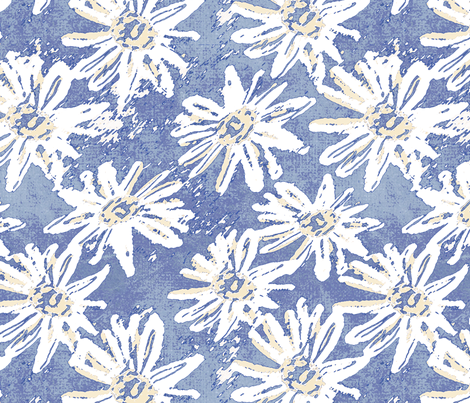Daisy Wash - Blue fabric by kristopherk on Spoonflower - custom fabric
