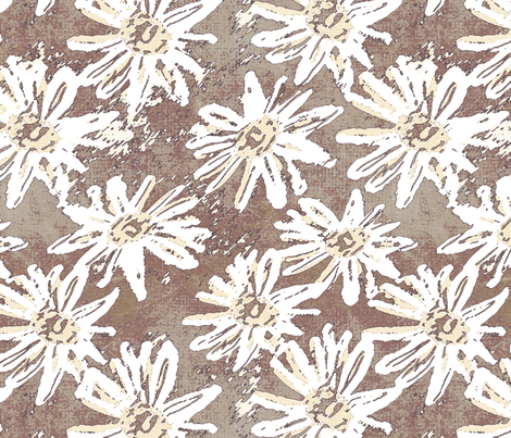 Daisy Wash - Rust fabric by kristopherk on Spoonflower - custom fabric