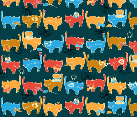 Geek Chic Cats fabric by joyfulroots on Spoonflower - custom fabric