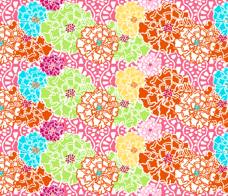 Pin Up Pink Floral fabric by lulabelle on Spoonflower - custom fabric