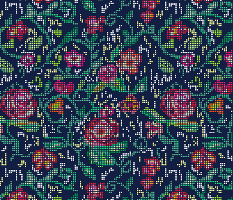 Pixel Flowers fabric by demigoutte on Spoonflower - custom fabric