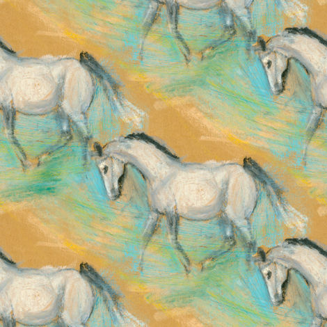 White Horse fabric by eclectic_house on Spoonflower - custom fabric