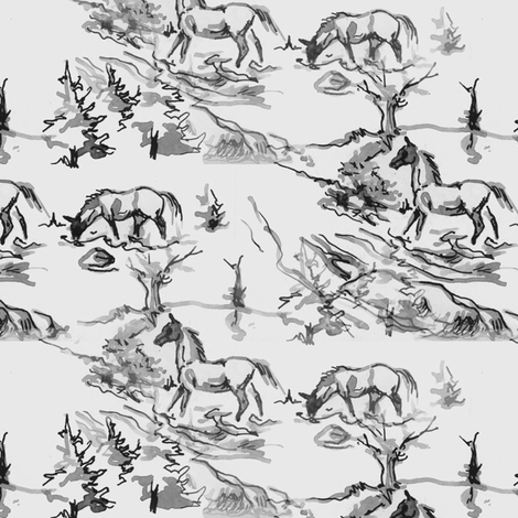 Gray Horses fabric by eclectic_house on Spoonflower - custom fabric