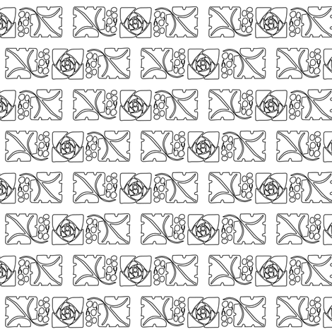 Type Ornaments-1 leaf-mckintosh-rose outlines fabric by mina on Spoonflower - custom fabric