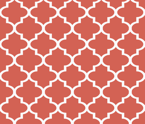 Coral Ogee  fabric by willowlanetextiles on Spoonflower - custom fabric