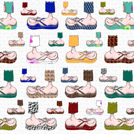 Feet with their BFF's ~ Flip-Flops! (white) fabric by amy_g on Spoonflower - custom fabric