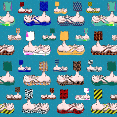 Feet with their BFF's ~ Flip-Flops! (blue) fabric by amy_g on Spoonflower - custom fabric