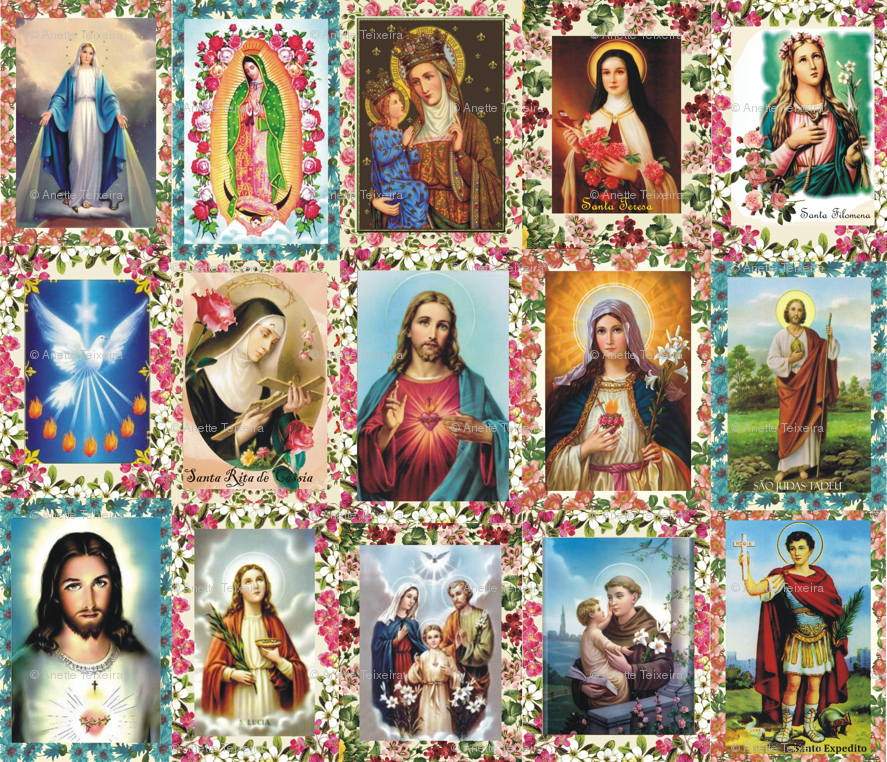 Catholic Saints And Images Collage Wallpaper