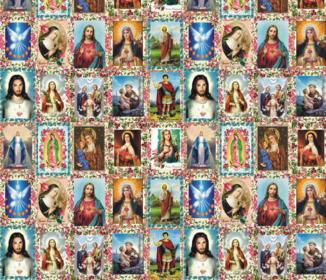 Catholic Saints and Images Collage fabric by anette_teixeira on Spoonflower - custom fabric