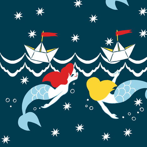 Mermaids and Paper Boats fabric by aimee on Spoonflower - custom fabric