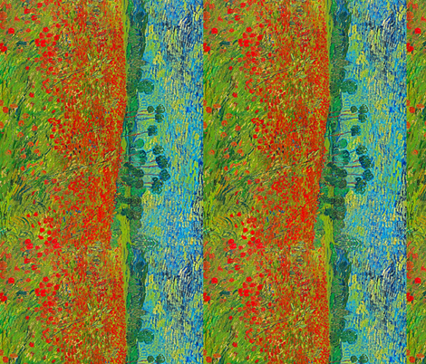 Van Gogh: Poppy Field Seamless Repeat fabric by ninniku on Spoonflower - custom fabric