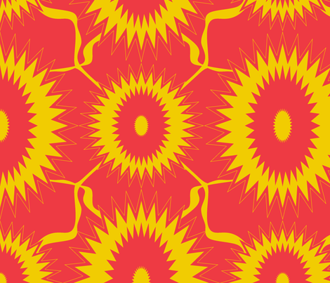 Red and Yellow Sun flower fabric by sewbiznes on Spoonflower - custom fabric