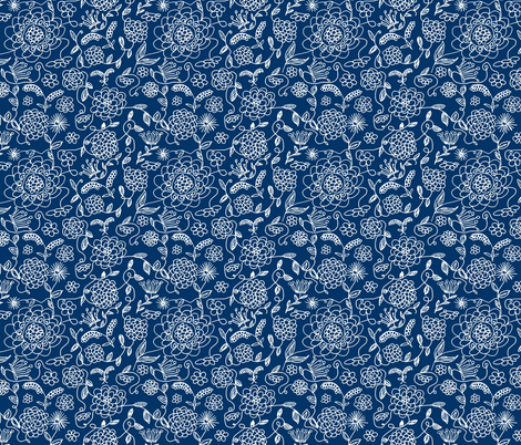 Crown_FLowers_Navy_ fabric by evelynrosedesigns on Spoonflower - custom fabric