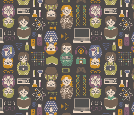 geek_chic_dolls fabric by maeli on Spoonflower - custom fabric