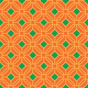 Octagon trellis - green and amber on orange