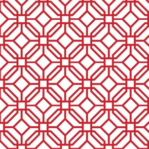 Octagon trellis - red on white
