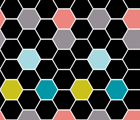 colorful hexies black fabric by katarina on Spoonflower - custom fabric