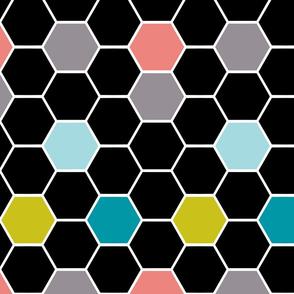 colorful hexies black