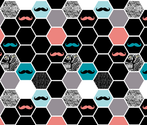 geek hexies blackish fabric by katarina on Spoonflower - custom fabric