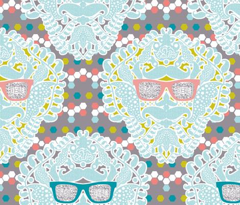 damask geek grey fabric by katarina on Spoonflower - custom fabric