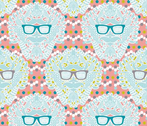 damask geek salmon fabric by katarina on Spoonflower - custom fabric