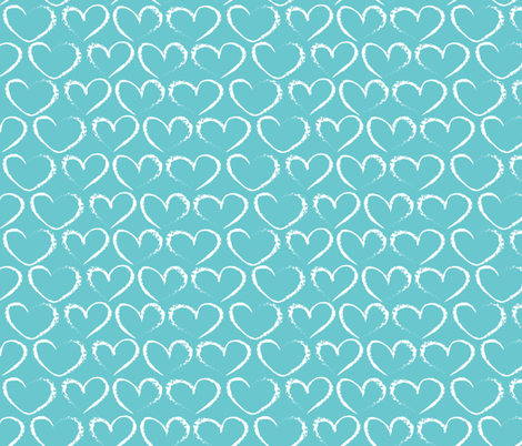 chalk hearts on blue fabric by kociara on Spoonflower - custom fabric