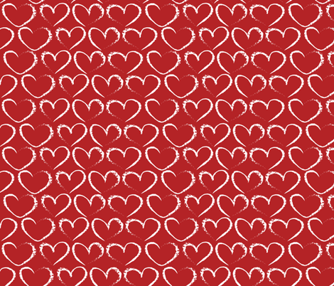 chalk hearts on red fabric by kociara on Spoonflower - custom fabric