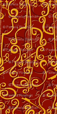 VIOLIN adante flourish red gold