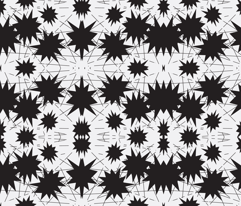 Stars and Lines black fabric by sewbiznes on Spoonflower - custom fabric