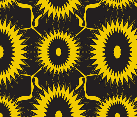 Black sunflower2 fabric by sewbiznes on Spoonflower - custom fabric