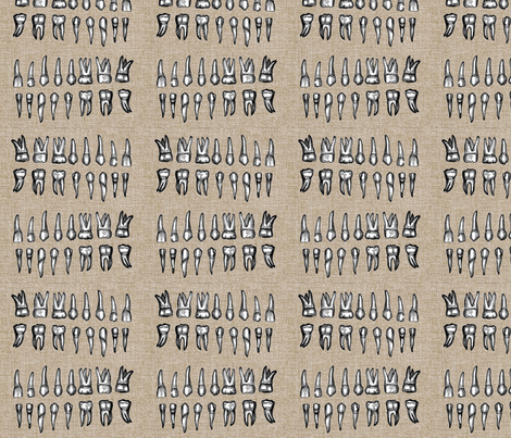 Human Teeth Fabric fabric by sleepymountain on Spoonflower - custom fabric