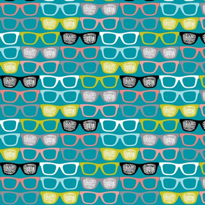 colorful glasses on teal
