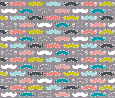 colorful mustaches on grey fabric by katarina on Spoonflower - custom fabric