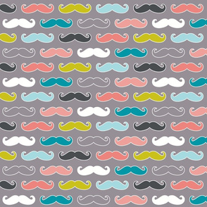 colorful mustaches on grey