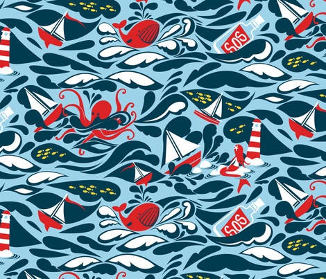 Trouble at sea fabric by cjldesigns on Spoonflower - custom fabric