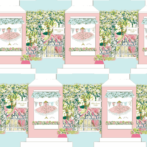 A French Dress Shoppe with a white roof fabric by karenharveycox on Spoonflower - custom fabric