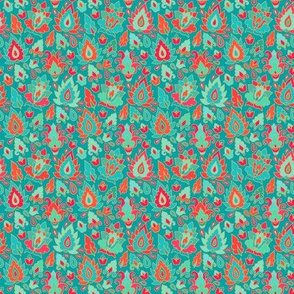 Emerald and scarlet paisley pattern