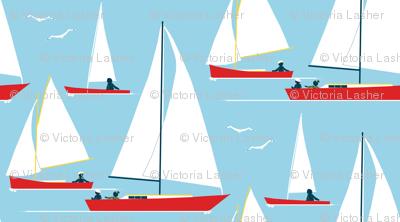 red boats at morning - sailors swarming