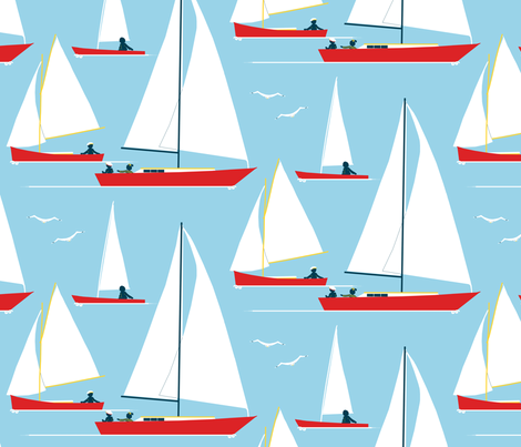 red boats at morning - sailors swarming fabric by victorialasher on Spoonflower - custom fabric