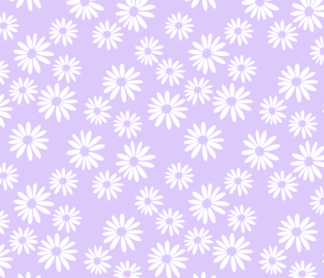 White Daisies, Lilac fabric by de-ann_black on Spoonflower - custom fabric