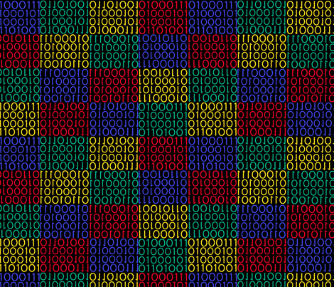 Black Binary Geek fabric by susiprint on Spoonflower - custom fabric