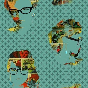 Tres chic, tres geek (mixed faces - blue/green)