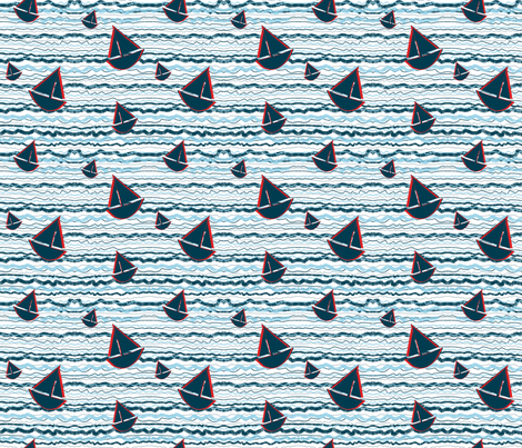 Bouncy_Little_Sailing_Ships fabric by pollywhistle on Spoonflower - custom fabric