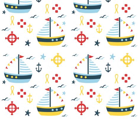 sailing bleu fabric by melissajimena on Spoonflower - custom fabric