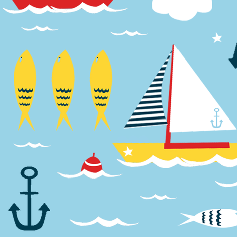 sail away fabric by modern_day_magpie on Spoonflower - custom fabric