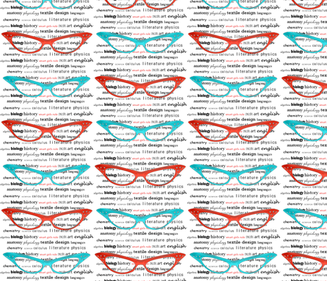 Smart Girls Rule Text aqua/red fabric by angelatackett on Spoonflower - custom fabric